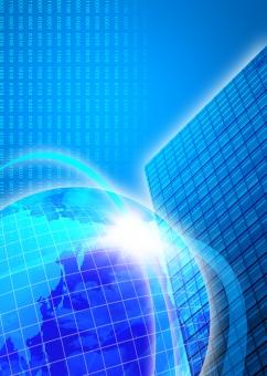 地球 ビル 光彩 光 フラッシュ 青 ブルー blue ビジネス 経済 ニュース 産業 チラシ パンフレット カタログ ポスター 表紙 背景 素材 世界 背景素材 バック バックグラウンド background ワールド テクノロジー IT web CG 会社案内