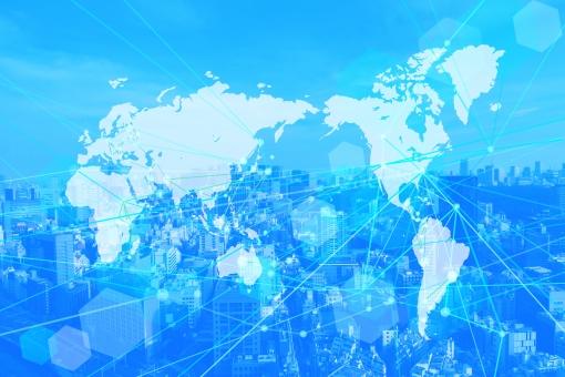グローバルネットワークテクノロジー街並み青背景素材の写真
