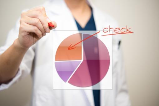 研究 博士 統計学 結果 グラフ 円 チェック 男性 赤ペン 診察 診断 ドクター 病院 評価 白衣 病気 診察 検査 診断 医療 かぜ インフルエンザ 専門医