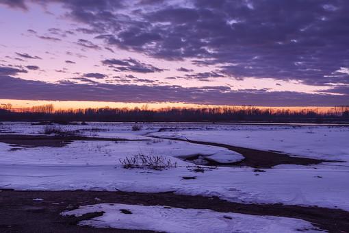 夕方 朝方 曇り 殺風景 残雪 雪解け 春 寒い 冷たい 白い 紫 パープル ホワイト オレンジ 木々 雑草 草 平野 キレイ 風景 幻想的 グラデーション 素材 同一色 植物 大地 広大