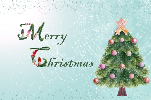 メリークリスマス クリスマス もみの木 モミの木 オーナメント 星 スター ベル 英語 英文字 飾り文字 グリーティングカード キラキラ きらきら メッセージカード クリスマスカード トントゥ 小人 ニッセ サンタ サンタクロース