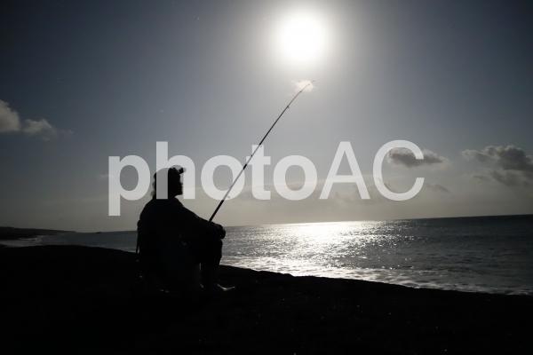 満月の夜釣りの写真