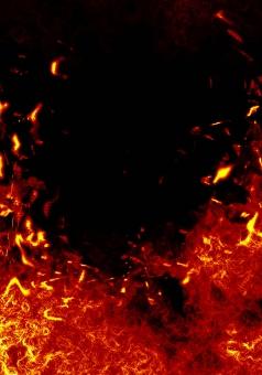 炎と火の粉の写真