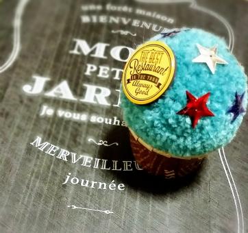 マグネット 星 ハンドメイド 英字 手作り 毛糸 ポンポン 男前雑貨 雑貨 カップケーキ 手芸 青 メンズ