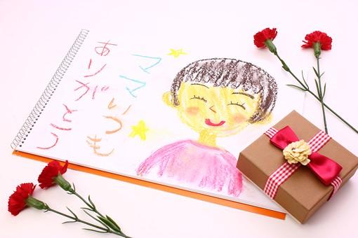 母の日 花 フラワー 生花 カーネーション 明るい 春 5月   かわいい イベント 行事  プレゼント ギフト      贈る  白  白バック  ありがとう 似顔絵 スケッチブック 絵 箱 リボン