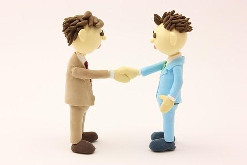 クレイ クレイアート クレイドール ねんど 粘土 クラフト 人形 アート 立体イラスト 粘土作品 人物 ビジネスマン ビジネス 働く人 サラリーマン 仕事  握手  二人 会議 話し合い 交渉 契約  和解 友好 会社 ビジネスシーン