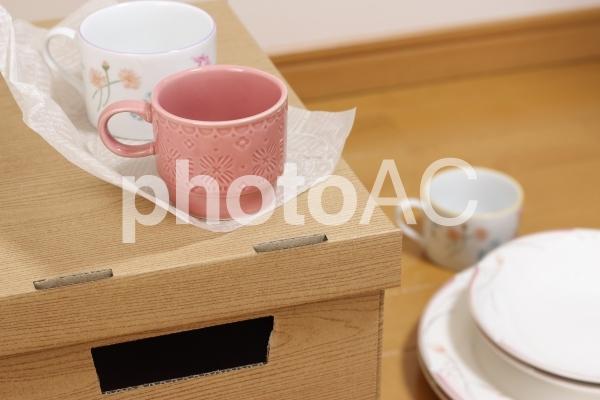 食器の梱包の写真