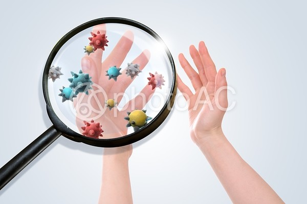 手についたウイルスの写真