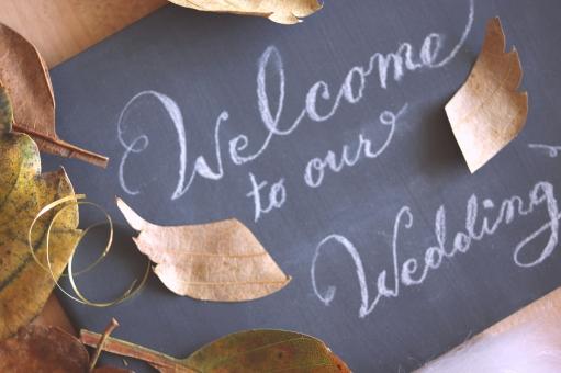 ウェルカムボード 秋 季節 結婚式 ブライダル ウェディング ウェディングメッセージ オータム 挙式 披露宴 会場 パーティー 結婚 マリッジ ボード 黒板 チョーク 文字 筆記体 英文 落ち葉 飾り