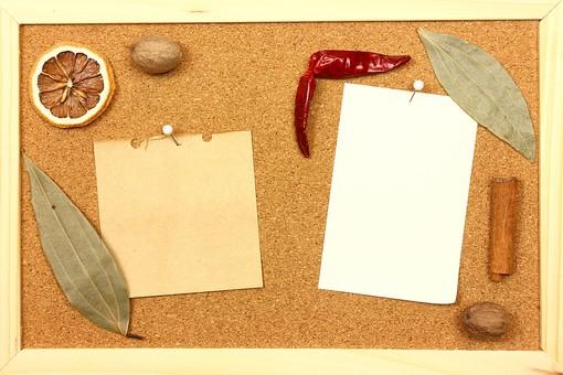 スパイス ハーブ オレンジ ナツメグ 実 葉 ローリエ 月桂樹 月桂樹の葉 レッドチリ 唐辛子 とうがらし トウガラシ 赤唐辛子 シナモン シナモンスティック 調味料 香辛料 香料 食べ物 食材 乾燥 フレーム 余白 コピースペース テキストスペース 背景 背景素材 バックグラウンド 枠 木枠 コルク コルクボード 画鋲 ピン プッシュピン メモ メモ紙 2枚 紙 赤 緑 茶 カラフル シンプル 鷹の爪