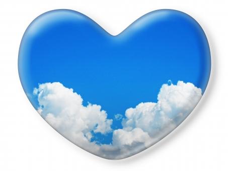 ハート はーと heart 素材 背景 アイコン ラブ love 愛 ロマンチック バレンタイン フレーム クリスタル風 枠 空 青空 雲 白雲 青 コピースペース 白 白バック