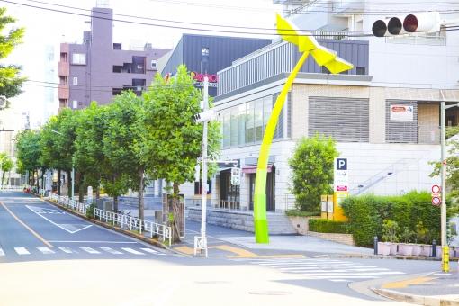 代官山 街 町 おしゃれ ショップ レストラン カフェ 通り ストリート ショッピング 大人 都会 東京 渋谷区 ビル 建物 歩道 街路樹 木 ウィンドウ ウィンドウショッピング 散歩 街角 風景 景色 都心 モニュメント 交差点 道路