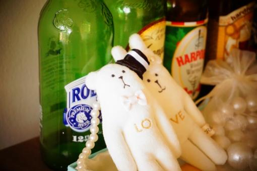 雑貨 love ぬいぐるみ くま うさぎ 部屋 ビール瓶 飾り