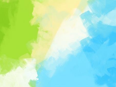 アート 絵画 絵の具 筆 アクリル 油絵 水彩 背景 素材 テクスチャ 黄緑 白 水色 青 ベージュ タッチ バックグラウンド