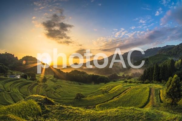 千葉大山千枚田の美しい日の出の写真