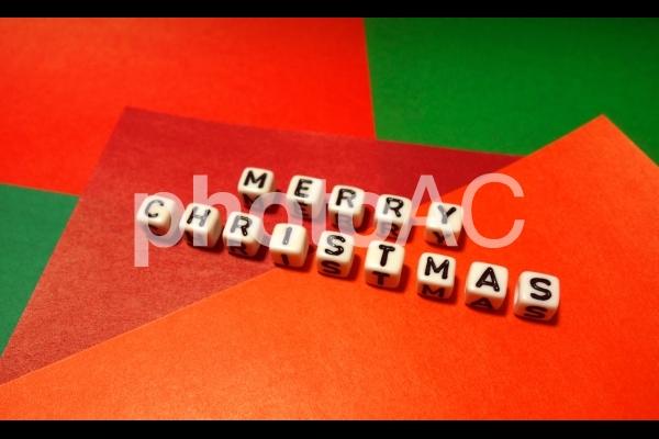 文字キューブ MERRY CHRISTMAS メリークリスマス 斜めの写真