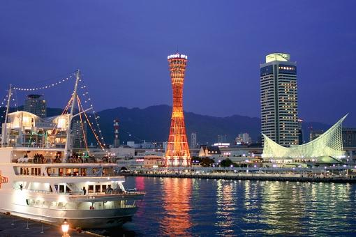 景色 風景 建物 町並み 街 神戸 夜景 海 海岸 船 客船 イルミネーション キラキラ 夜