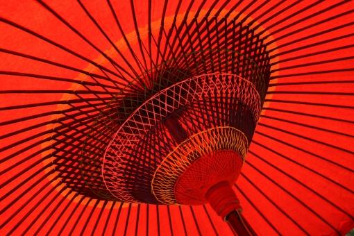 傘 かさ カサ 京都 和 古都 和風 和傘 番傘 赤 日本 古い 骨組み 和紙 アップ 工芸品 伝統 風流 野点 内側 糸 唐傘 茶会 屋外 外 日傘 古風