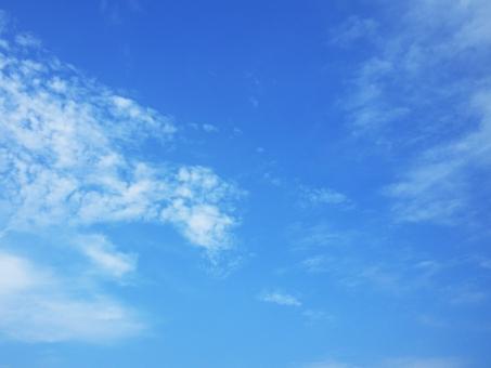 猛暑の青空と白い雲の写真