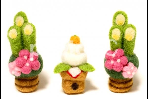 お正月の門松と鏡餅_羊毛フェルトの写真