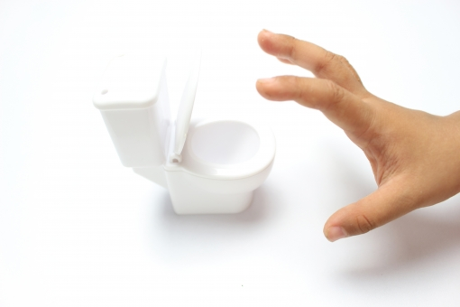 トイレ 便器 お手洗い 便所 イメージ 白バック 白背景 ミニチュア 清潔 白 コピースペース テキストスペース 子供 子ども こども 日本人 手 ボディーパーツ 我慢 男の子 行きたい