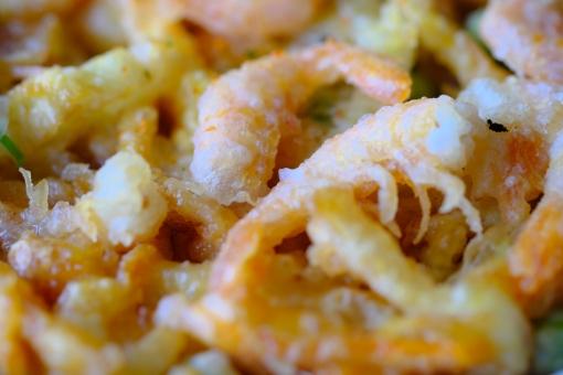 食べ物 麺類 うどん 天ぷら かき揚げ 和食 軽食 卵 たまご 月見 七味 薬味 横位置 余白 エビ 海老