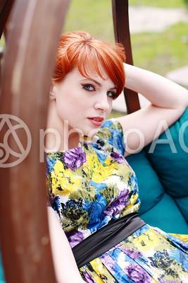 外国人女性モデル写真 半袖ワンピース5の写真