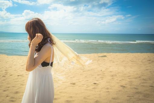 海 女 美女 ショール 海岸 海辺 女性 ビーチ