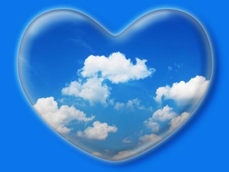 ハート はーと heart 素材 背景 アイコン ラブ love 愛 ロマンチック バレンタイン フレーム クリスタル風 枠 空 青空 雲 白雲 青 白