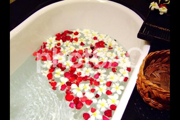 花を浮かべてバスタイム02【補正】の写真