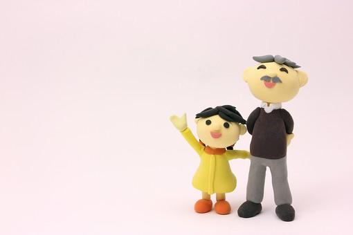 クレイ クレイアート クレイドール ねんど 粘土 クラフト 人形 アート 立体イラスト 粘土作品 人物 笑顔 子供 子ども こども お爺ちゃん おじいちゃん 孫 家族