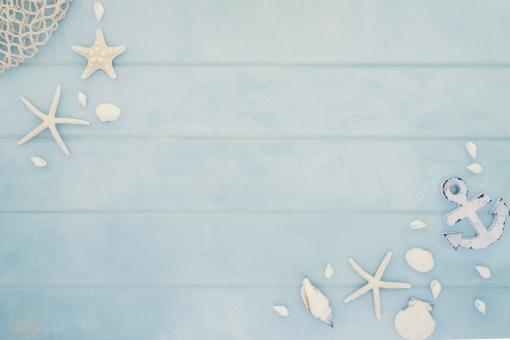 夏 枠 フレーム コピースペース 自然 背景 海 生物 夏休み 掲示板 爽やか 海岸 看板 貝殻 ヒトデ 採集 貝がら シェル ホタテ貝 文字入れ 暑気