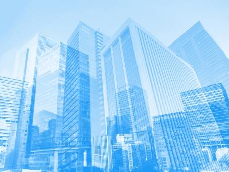 青いビジネス街の抽象背景素材の写真