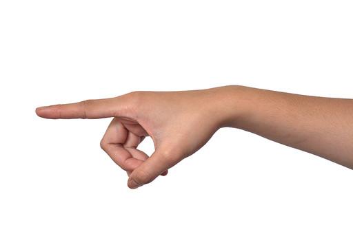 人物 背景 白 白背景 白バック 切り抜き パーツ ボディパーツ 腕 数字 片手 ポイント 指 手首 ジェスチャー 身ぶり 指示 カウント 番号 肌 余白  シンプル ハンドパーツ 右手 人指し指 指差し 人の手