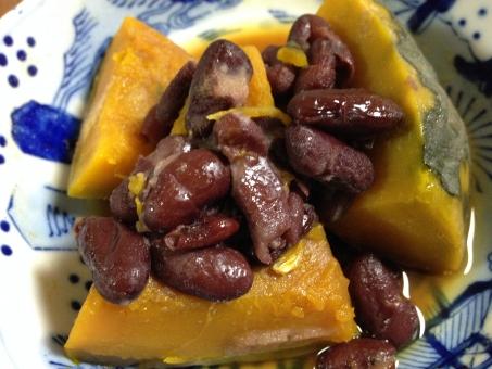かぼちゃの煮物 南瓜 煮物 和食 金時豆 おかず 総菜 家庭料理 ヘルシー