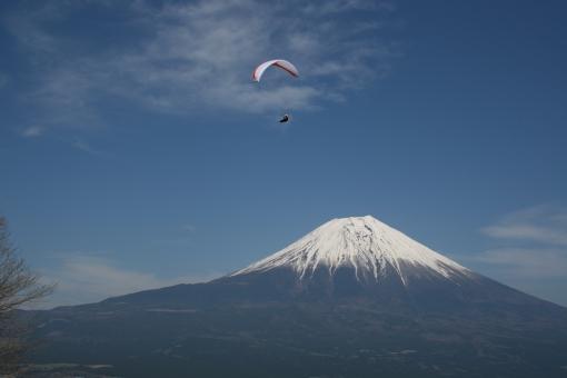 富士山 パラグライダー 大沢崩れ 朝霧高原 冬の富士山