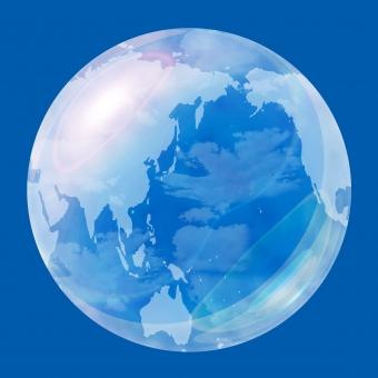 透明 透明感 青 ブルー ビジネス IT エコ エコロジー 透き通った アクア 球体 球 玉 丸い 世界 地図 地理 太陽系 惑星 地球儀 素材 宇宙 イラスト CG 水晶 クリスタル