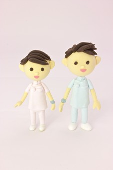クレイ クレイアート クレイドール ねんど 粘土 クラフト 人形 アート 立体イラスト 粘土作品 かわいい 人物 仕事 働く 医療 福祉 介護 看護士 男性 看護婦 ナース 女性 白衣 病院 診察 二人 2人