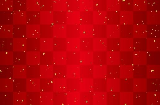 市松模様赤と金粉の写真