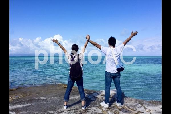 竹富島 西桟橋で大自然を満喫の写真