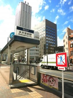 地下鉄 水天宮 東京メトロ 東京 TOKYO メトロ 階段 横断禁止 道路 高層 ビル 空 半蔵門線 電車 中央区 日本橋 tokyo