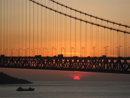 自然 風景 海 橋 夕日 夕焼け 明石海峡大橋 瀬戸内海 淡路島 神戸