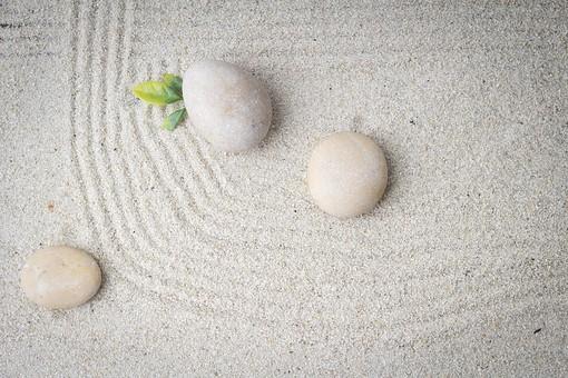 和 和風 禅イメージ 庭 石 枯山水 砂 砂紋 レーキ 日本 日本庭園 日本文化 庭園 わびさび 和寺 石庭 造園 伝統 白砂 風景 イメージ 京都  縁側 風景 緑 植物 葉 線 曲線