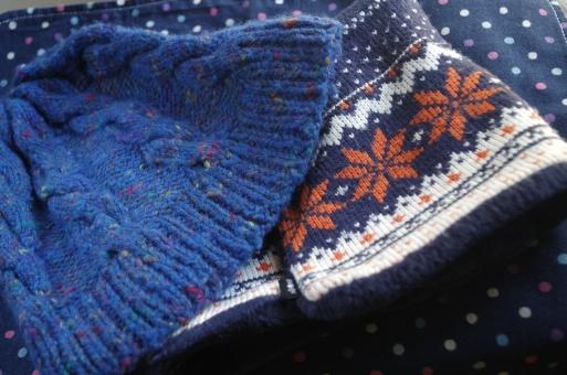 ウォームビズ 無人 小物 2つ 冬 防寒 暖かい あったか 帽子 ニット ニット帽 ネックウォーマー マフラー 青 紺 ジャガード 手編み お出かけ 毛糸 毛 ウール