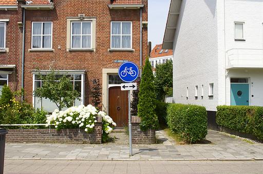 オランダ Holland アムステルダム 住宅 アパート 車道 自転車専用通路 標識 レンガ 赤レンガ ガーデン 植木 花 植物 自然 緑 外壁 窓 サッシ フラワー 白い花 車道 街並み 住宅街 植え込み 車道脇 花壇