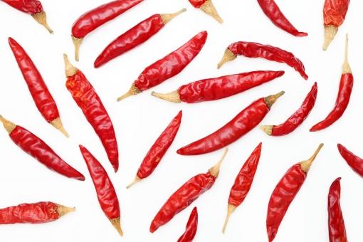 唐辛子 赤唐辛子 ペッパー とうがらし 野菜 鷹の爪 辛い 調味料 食べ物 食物 香辛料 スパイス 食材 食品 自然食品 材料 赤 赤色 レッドペッパー 乾燥 植物 沢山 たくさん ランダム 白バック 白背景 背景 一面 バックグラウンド 無人