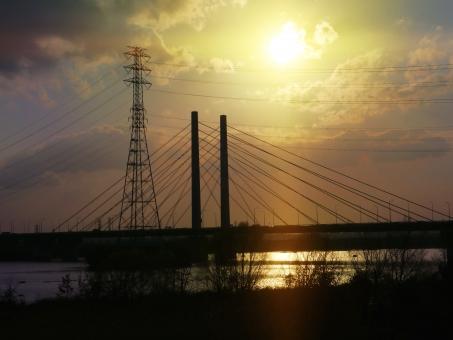 夕景と橋004の写真