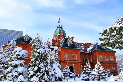 赤れんが庁舎 赤レンガ庁舎 北海道庁 大雪 積雪 雪 冬 札幌 観光地 歴史的建造物 旧庁舎