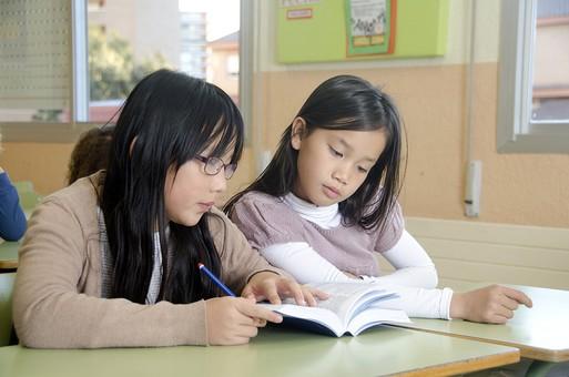 人物 生物 人間 外国人 子ども かわいい 小さい キッズ 生徒 学生 学童 幼い 学校 勉強 学び 教育 授業 クラス まじめ 教室 机 教科書 分厚い 本 女子 女の子 クラスメイト 友達 mdfk027 mdfk025