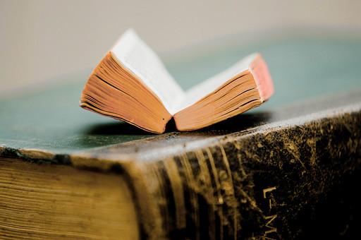 本 ブック 書物 書籍 図書 読書 読む 趣味 勉強 厚い 分厚い ミニ ミニチュア 小さい 小 ページ 開く めくる 捲る 置く 接写 クローズアップ アップ 積み重ねる 重ねる 乗せる 乗る 背表紙 豆本